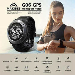 Smart Watches Makibes G06 Smart Watch Multisport GPS Bluetooth Heart Rate Monitor Wristwatch IP68 Waterproof Activity Tracker for IOS Android [tag]