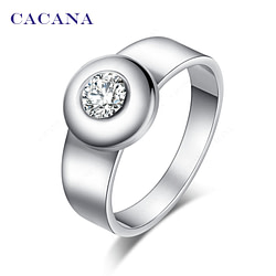Rings CACANA  Stainless Steel Rings For Women With Round CZ Personalized Custom Fashion Jewelry Wholesale NO.R142 [tag]