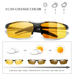Cars Al-Mg Alloy Photochromic Lens Polarized Men's Day&Night Vision Driving Sunglasses, Anti-Glare Male Driver Sun Glasses S156 [tag]