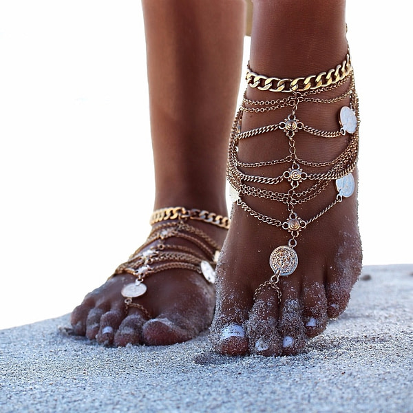 Fine Anklets 2017 New Fashion Summer Sexy Silver Tassel Anklet for women Coin Pendant Chain Ankle Bracelet Foot Jewelry Barefoot Sandal [tag]
