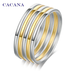 Rings CACANA Stainless Steel Rings For Women 1set(5pcs) High Quality Free Combination Fashion Jewelry Wholesale NO.R155 [tag]