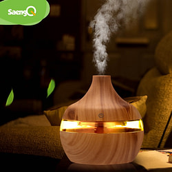 Baby saengQ Electric Humidifier Essential Aroma Oil Diffuser Ultrasonic Wood Grain Air Humidifier USB Mini Mist Maker LED Light For [tag]