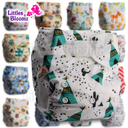 Baby [Littles&Bloomz] Baby Washable Reusable Real Cloth STANDARD Hook-Loop Pocket Nappy Diaper Cover Wrap, suits Birth to Potty [tag]