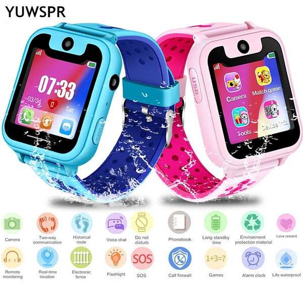 Children's Watches kids tracker watch waterproof 1.54″ Touch Screen camera SOS Call Location Device Children watches Clock S6 [tag]