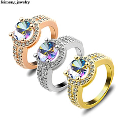 Engagement Rings Wholesale Rose gold Geometric Ring Double row embellishment Ring Fashion silver Filled Jewelry Promise Engagement Ring For Women [tag]