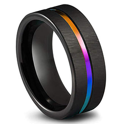 Engagement Rings Black Titanium Stainless Steel Simple Ring Wedding Band 8mm Colorful Rainbow Couple Ring [tag]