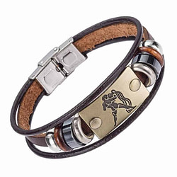 Jewelry Hot Selling Fashion 12 zodiac signs Bracelet With Stainless Steel Clasp Leather Bracelet for Men [tag]