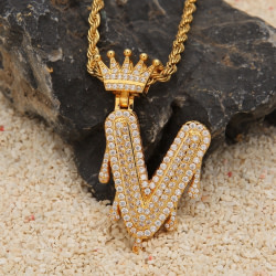 Rings Custom Crown Bail Drip Bubble Initial Letters Chain Necklaces & Pendant For Men Women Gold Color Cubic Zircon Hip Hop Jewelry [tag]