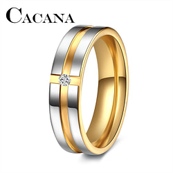 Rings CACANA Stainless Steel Rings Wedding Rings for Women Cubic Zirconia Men Personalized CustomJewelery [tag]