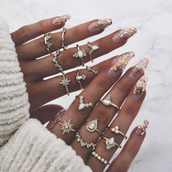 Engagement Rings 16 Pcs/set Women Vintage Gem Crown Crystal Geometry Star Gold Finger Ring Set Boho Charm Wedding Jewelry Engagement Accessories [tag]
