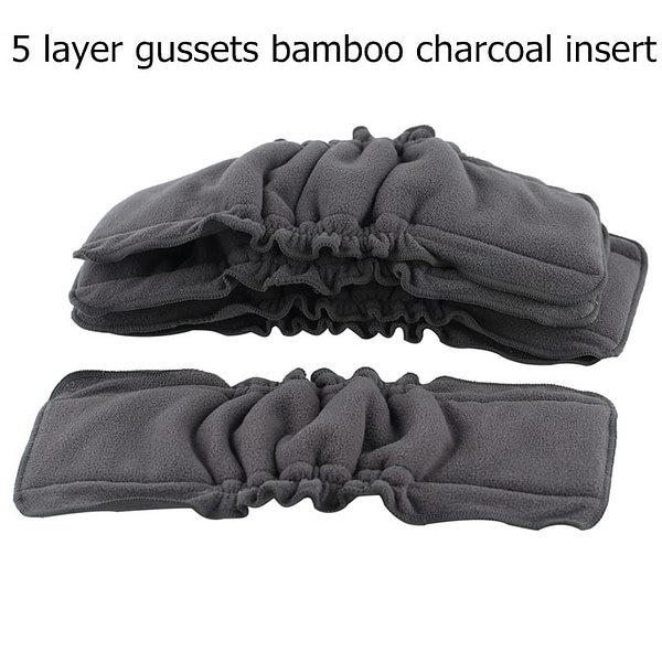 Baby Ohbabyka Bamboo Charcoal Diaper Elastic Inserts for Baby Nappies Reusable Washable Cloth Diaper Insert Fraldas De Pano 5pcs/Pack [tag]